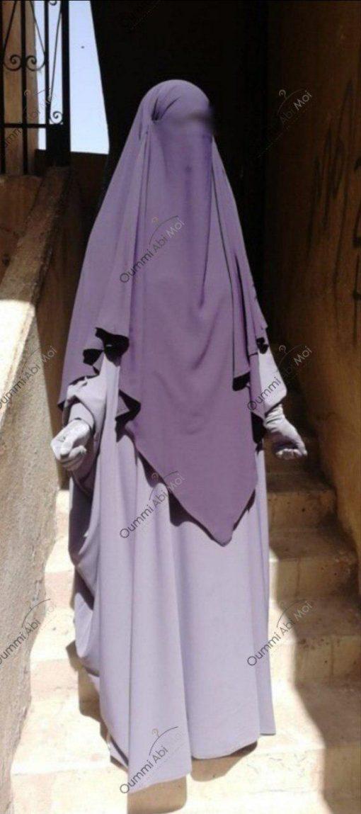 Abaya Bint.A Whool Peach Gris Lilas Profil