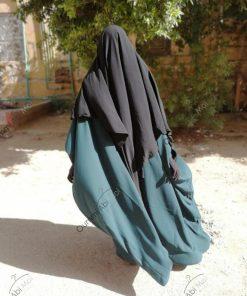 Abaya Bint.a Semi Caviary Vert Emeraude Dos