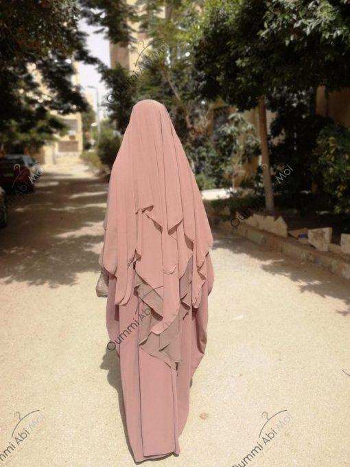 Khimar 3 Voiles Bint.a Coupe Evasée Taupe Rosé Dos
