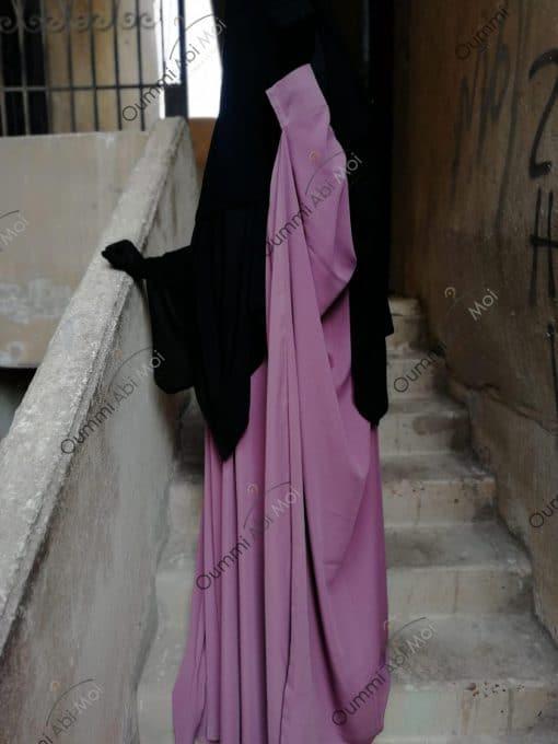 Abaya Saoudienne Whool Peach Bint.a Rose Cendré