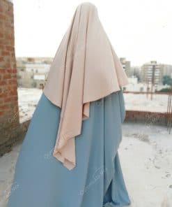 Abaya Saoudienne Bint.a Whool Peach Bleu Gris