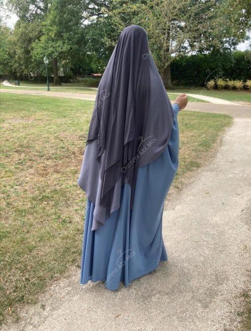 Abaya Saoudienne Bint.a Whool Peach Bleu Ciel